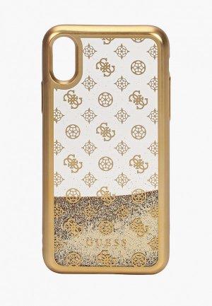 Чехол для iPhone Guess X / XS, Glitter 4G Peony Gold. Цвет: золотой