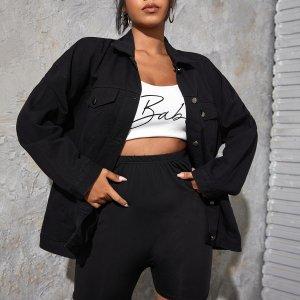 Джинсовая куртка размера плюс с карманом SHEIN. Цвет: чёрный