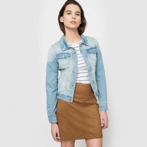Куртка джинсовая с вытертым эффектом TOM TAILOR. Цвет: синий деним