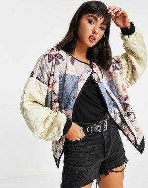 Стеганая куртка-бомбер в стиле пэчворк Rudy-Многоцветный Free People