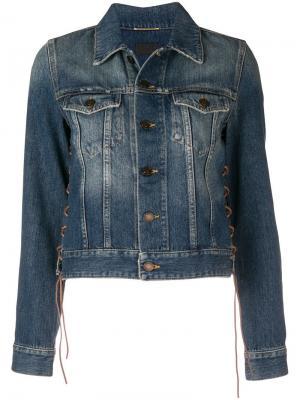 Джинсовая куртка со шнуровкой Saint Laurent. Цвет: синий