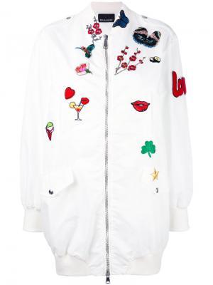 Удлиненная куртка-бомбер с заплатками Ermanno. Цвет: белый