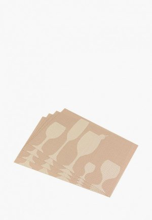 Комплект салфеток сервировочных El Casa. Цвет: бежевый