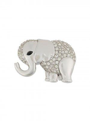 Декорированная брошь 1990-х годов в виде слона Susan Caplan Vintage. Цвет: серебристый