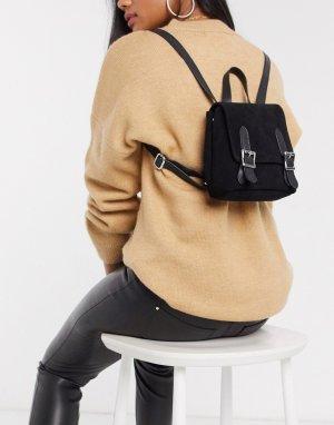 Замшевый рюкзак с пряжками -Черный ASOS DESIGN