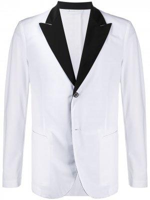 Однобортный пиджак с контрастными лацканами Hydrogen. Цвет: белый