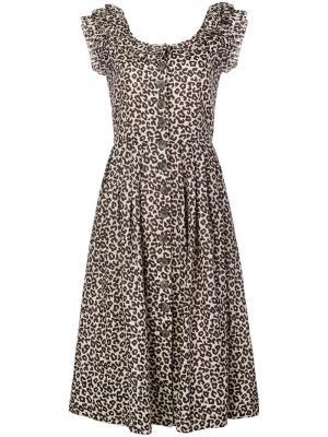 Платье-рубашка с леопардовым принтом Sea. Цвет: бежевый