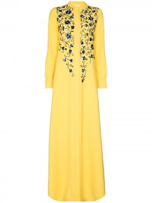 Платье-кафтан с вышивкой и высоким воротником Carolina Herrera. Цвет: желтый