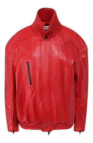 Кожаная куртка Balenciaga. Цвет: красный