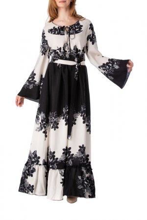 Платье Adzhedo. Цвет: молочный, черный, цветы