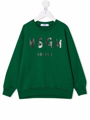 Толстовка с логотипом MSGM Kids. Цвет: зеленый