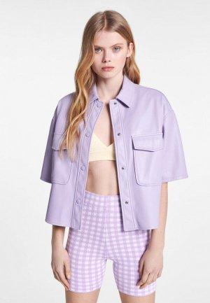 Куртка кожаная Bershka. Цвет: фиолетовый