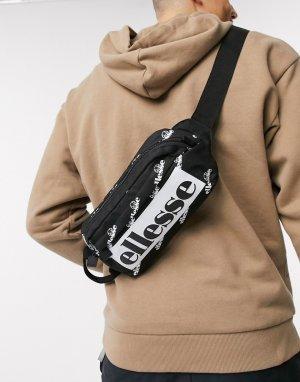 Черная сумка-кошелек на пояс со сплошным принтом -Черный ellesse