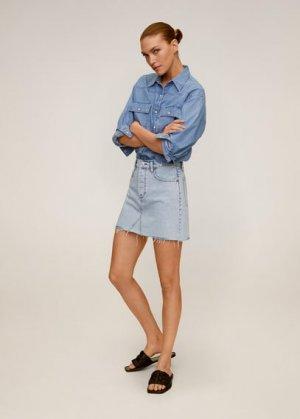Джинсовая мини-юбка - Monica Mango. Цвет: светло-синий