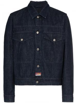 Джинсовая куртка с вышитым драконом Kenzo. Цвет: синий