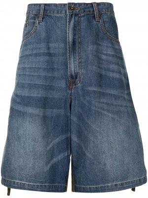 Двухцветные джинсовые шорты FIVE CM. Цвет: синий