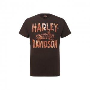 Хлопковая футболка Exclusive for Moscow Harley-Davidson. Цвет: коричневый