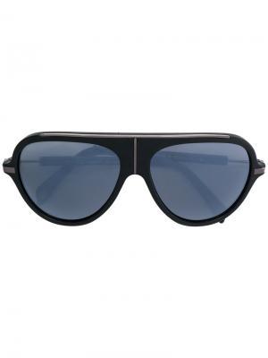 Солнцезащитные очки в объемной оправе Balmain. Цвет: чёрный