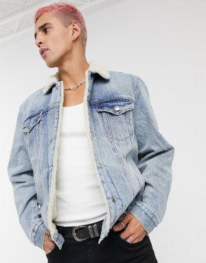 Синяя джинсовая куртка с подкладкой из искусственного меха -Голубой AllSaints