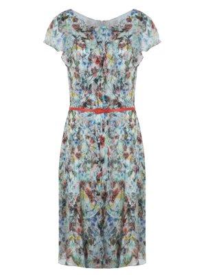 Шелковое платье с поясом CAROLINA HERRERA