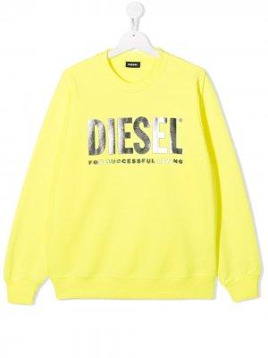 Толстовка с логотипом металлик Diesel Kids. Цвет: желтый