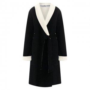 Шерстяное пальто Alexander Wang. Цвет: чёрный
