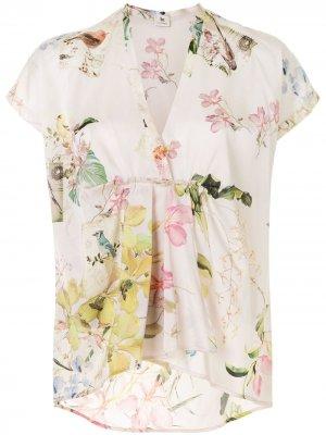Блузка ампирного силуэта с цветочным принтом Colombo. Цвет: розовый