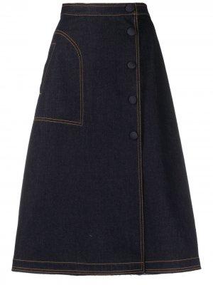 Джинсовая юбка А-силуэта Moncler. Цвет: синий