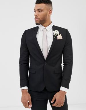 Черный свадебный приталенный пиджак River Island