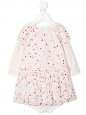 Многослойное платье в горох Stella McCartney Kids. Цвет: розовый