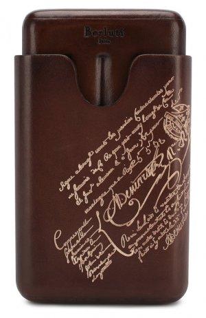 Кожаный портсигар Berluti. Цвет: коричневый