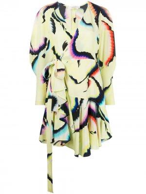 Платье с запахом и графичным принтом A.L.C.. Цвет: желтый