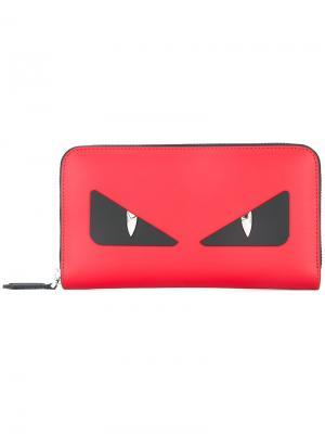 Кошелек с аппликацией Bag Bugs Fendi. Цвет: красный