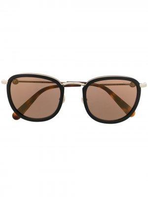 Солнцезащитные очки в круглой оправе Moncler Eyewear. Цвет: коричневый