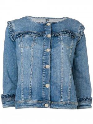 Джинсовая куртка с оборками LIU JO. Цвет: синий