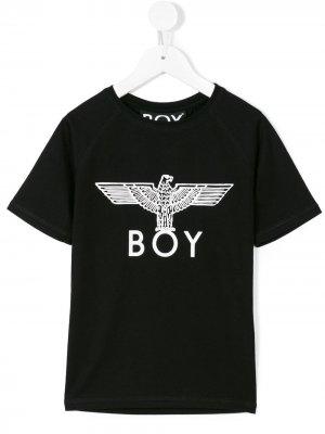 Футболка с принтом логотипом Boy London Kids. Цвет: черный