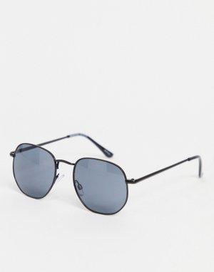 Черные солнцезащитные очки угловато-округлой формы -Черный Selected Homme