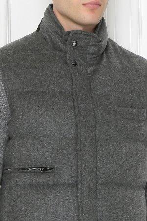 Серый пуховый жилет из кашемира ISAIA. Цвет: серый