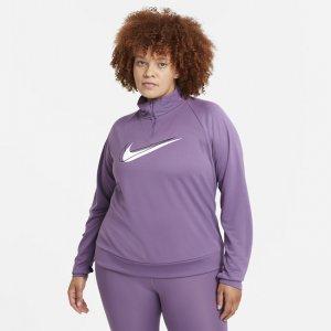 Женская беговая куртка с молнией на половину длины Dri-FIT Swoosh Run (большие размеры) - Пурпурный Nike