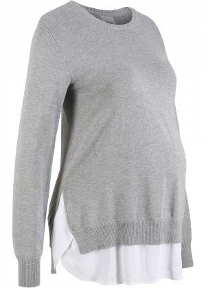 Пуловер 2 в 1 для беременных, длинный рукав bonprix. Цвет: серый