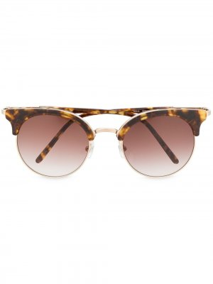 Солнцезащитные очки в полуободковой оправе Matsuda. Цвет: коричневый