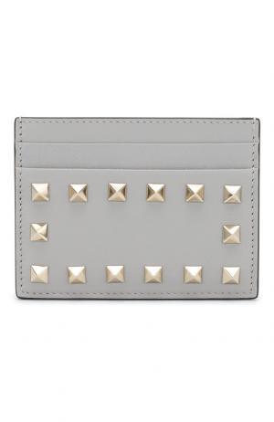 Кожаный футляр для кредитных карт Garavani Rockstud Valentino. Цвет: светло-серый