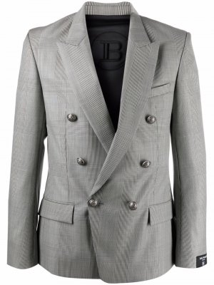Двубортный пиджак с заостренными лацканами Balmain. Цвет: серый