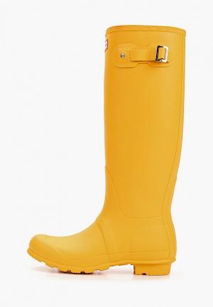 Резиновые сапоги Hunter WOMENS ORIGINAL TALL. Цвет: желтый