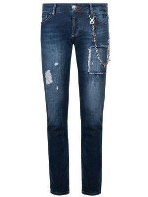 Зауженные джинсы с цепочкой Philipp Plein. Цвет: разноцветный