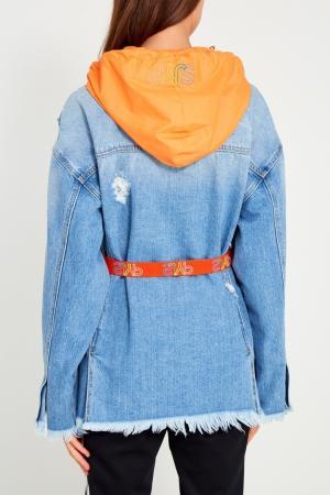 Джинсовая куртка с капюшоном SJYP. Цвет: голубой