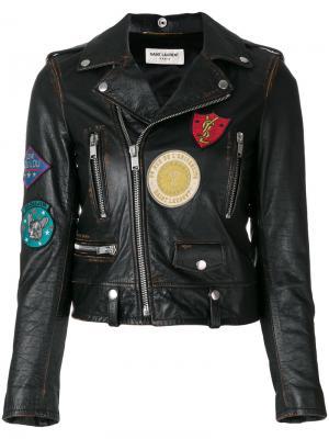 Кожаная куртка с вышитыми деталями Saint Laurent. Цвет: чёрный