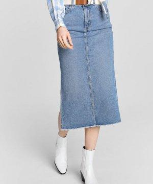 Джинсовая юбка миди с боковыми разрезами O`Stin. Цвет: светло-синий