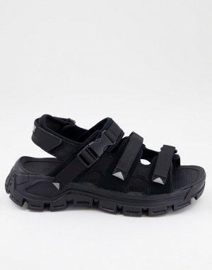 Черные сандалии с пряжкой Caterpillar Progressor-Черный Cat Footwear
