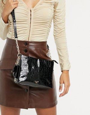 Черная прямоугольная сумка с фактурой под крокодила Drula-Черный цвет Dune